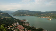 Orta lake and san giulio island in italy in summer day  time lapse Stock Footage