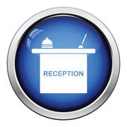 Hotel reception desk icon - stock illustration