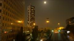 city night urban scenery. traffic lights - stock footage