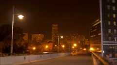 Night city panorama view. urban scenery background Stock Footage