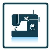 Modern sewing machine icon - stock illustration