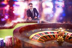 3D Rendering gambler playing roulette - stock illustration