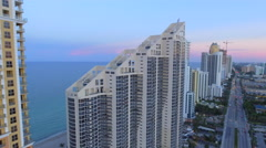 Luxury beachfront real estate Sunny Isles aerial video tour Stock Footage