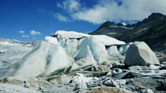 Ice glacier covered with protection planked to stop melting process Stock Footage