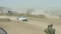 Motorsport Over Rough Terrain. Drivers of Race Car Are Riding Off Road Leaving - stock footage