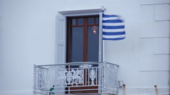 Greek Flag blowing in the Wind 1 Stock Footage
