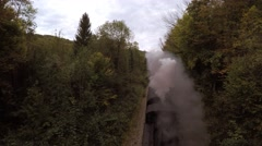 Aerial view of steam engine locomotive train Stock Footage