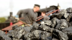 Coal shoveling for steam engine locomotive train Stock Footage