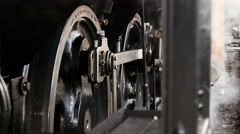 Old technology background. steam train wheels close up. locomotive Stock Footage