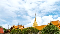 Time lapse, cloudy sky over Pagoda, Doi Suthep Temple, Chiang mai, Thailand Stock Footage