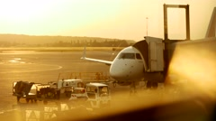 Airport arrival. airplane luggage. boarding check-in. airplane plane. jet Stock Footage
