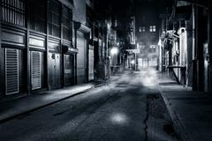 Cortlandt Alley by night in NYC - stock photo