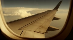 Airplane window view. wing wings. plane aircraft. flight flying Stock Footage