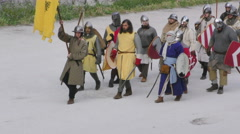 medieval battle army take sides - stock footage