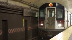 Train enters 42 Street and Grand Central subway station in New York 4k - stock footage