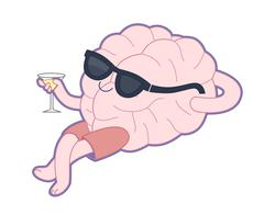Relaxing with a glass of vermouth, Brain collection Stock Illustration