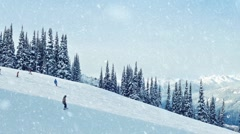 Family Snowboards Past In Snowfall Stock Footage