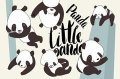 Cartoon panda bear set with lettering Stock Illustration
