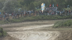 Pilots Racing Passenger Cars Are Involved in the Race Motocross. Motorsport Stock Footage
