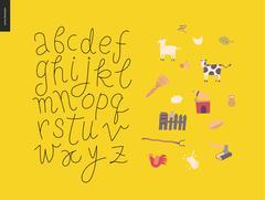 Vector script alphabet 7 - stock illustration