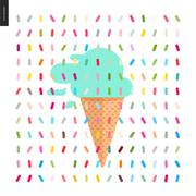 Mint Ice cream in a cone and pattern - stock illustration