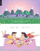 Picnic, web template with lilac sky - stock illustration