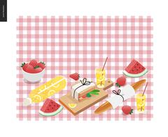 Picnic plaid and snack Stock Illustration