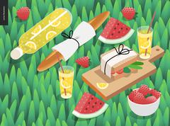 Picnic snack on grass - stock illustration