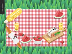Picnic plaid and snack on green grass Stock Illustration