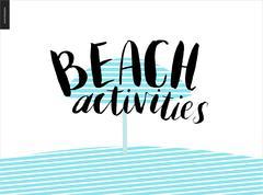 Beach activities calligraphy - stock illustration