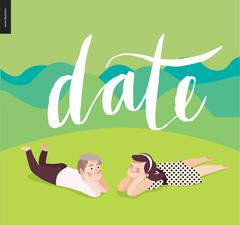 Date calligraphy and a young couple - stock illustration