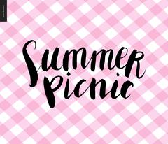 Summer picnic calligraphy on checkered plaid pink background - stock illustration