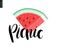 Picnic lettering and a slice of watermelon - stock illustration