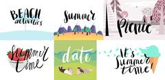 Lettering on beach, picnic, vacation and summer Piirros