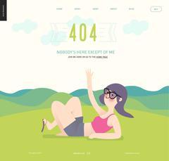 Error web page template - waving girl on green landscape background - stock illustration