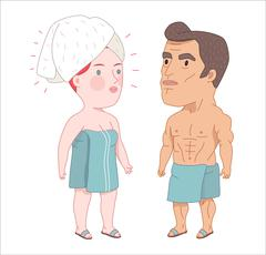 After shower, Dodo People collection - stock illustration