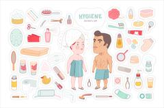 After shower bathroom stickers set, Dodo People collection - stock illustration