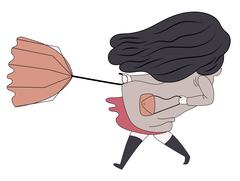 Windy girl Stock Illustration