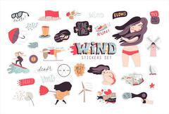 Windy girl  sticker pack - stock illustration