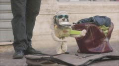 Musician Street Puppet - Side View Stock Footage