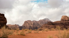 Wadi Rum desert in Jordan cloud landscape scenery 4k timelapse - stock footage