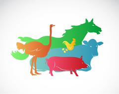 Vector farm animal set on white background, horse, pig, chicken, ostrich, cow Stock Illustration