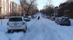 Washington DC blizzard snowstorm.  Snow covered street. Stock Footage