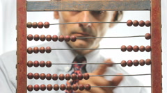 Accountant count with abacus Stock Footage