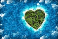The island in the shape of a heart with  bird's eye view Stock Photos