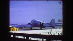 1964: US Army propeller airplane landing takeoff airport runway military planes. Stock Footage