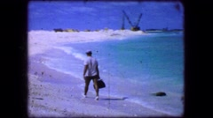 1944: Low tide beach rocky coral reef ocean marine life study white sands beach. Stock Footage
