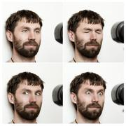 Composition of different expressions of the young bearded man Stock Photos