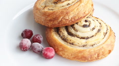 Sweet roll cake with poppy with frozen sour cranberry Stock Footage