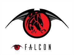 Eagle. unique design of attacking falcon Stock Illustration